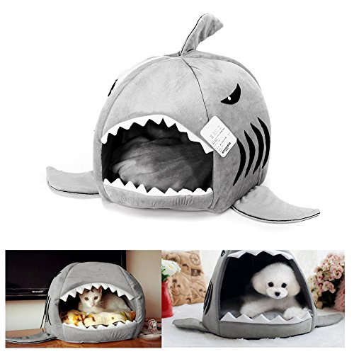 SUJING Cat Bed Cave Foldable Comfortable Pet Cat Bed Tent House Soft Warm Cartoon Shark Shape Pet Nest -Ship from US ()