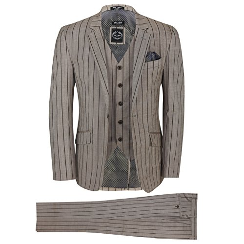 XPOSED Mens Brown 3 Piece Pinstripe Cotton Linen Blend Tailored Fit Vintage Suit Smart Casual [Brown,Chest UK 48 EU 58,Trouser 42