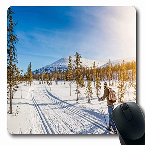 Mousepads Path Panoramic View Person Crosscountry Skiing Cross Skier Country in Nordic Winter Design Finland Non-Slip Gaming Mouse Pad Rubber Oblong Mat