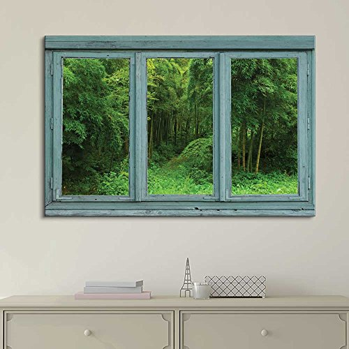 Vintage Teal Window Looking Out Into a Green Jungle with a Path