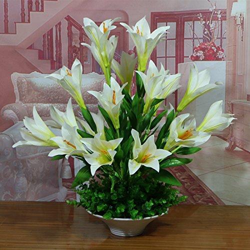 e311050d9b orquídeas Vaseformosa Lily White22 ANSODT Fake Flores Artificiales Sala de  Estar con Mesa Decorationated Decorationated con acrílico