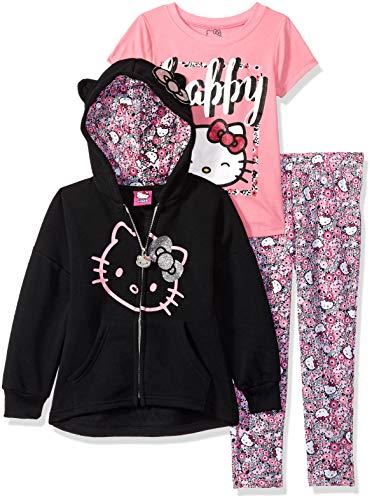 Hello Kitty Little Girls' 3 Piece Hooded Legging Set, Black/Pink, 4 ()