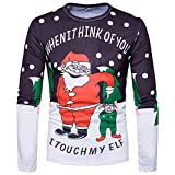 PASATO Classic Men Autumn Winter Xmas Christmas Printing Top Men's Long-Sleeved T-Shirt Blouse Clearance Sale(Multicolor, S=US:XS)