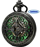 SEWOR Vintage Skeleton Flower Mens Pocket Watch Luminous Case Mechanical Hand Wind (Skeleton Black)