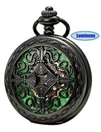 SEWOR Vintage Flower Mens Pocket Watch Luminous Case Mechanical hand wind With Brand Leather Gift Box (Flower Black)