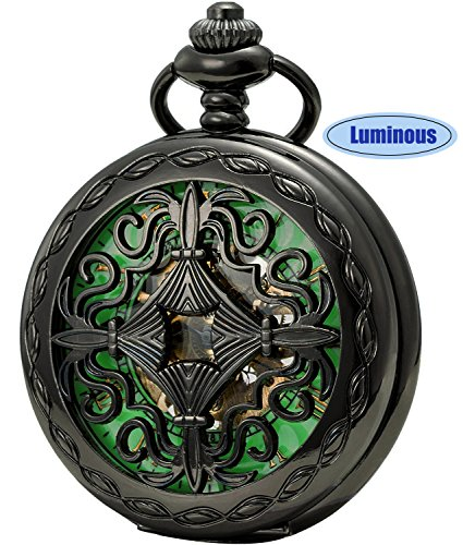 SEWOR Vintage Skeleton Flower Mens Pocket Watch Luminous Case Mechanical hand wind (Skeleton - 15 Jewels Watch Pocket