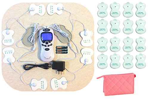 TENS Unit Tens Massager Digital Therapy Acupuncture Pads Machine, 2 outputs 8 pads, Full Body, Extra 16 Pads, Travelling Bag by MSLS