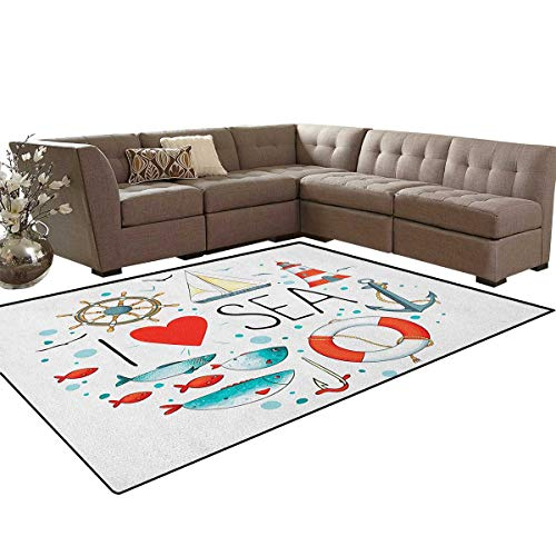 Nautical,Rug,I Love Sea Quote with Heart Figure Sea Materials Anchor Compass Knotted Rope,Perfect for Any Room Floor Carpet,White Red Blue Size:6'6