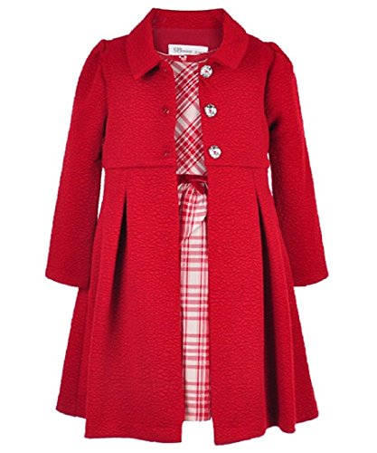 Cardigan Snowflake Baby (Bonnie Jean Girls Cranberry & Silver Plaid Dress with Cranberry Coat (3T, Red))
