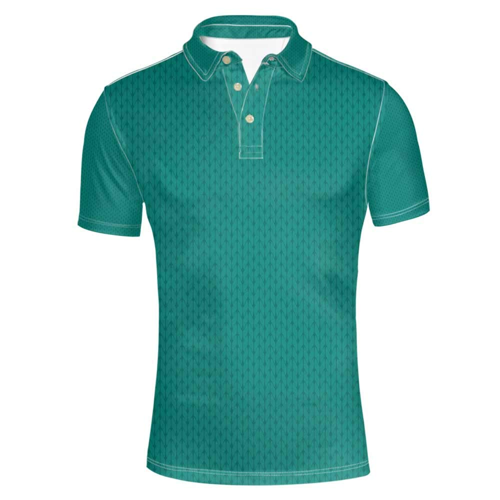 Teal Stylish Polo Shirt,Knitting Inspired Pattern Sewing and Crafting Hobby Themed Design Monochrome Image Print for Men,XL