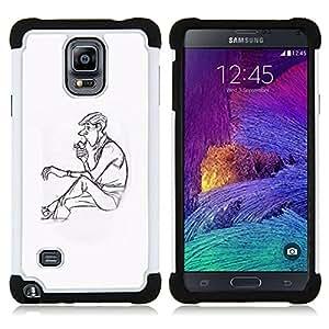"""Pulsar ( Hombre Pipe Perfil Humo de Lonely Arte Dibujo"""" ) Samsung Galaxy Note 4 IV / SM-N910 SM-N910 híbrida Heavy Duty Impact pesado deber de protección a los choques caso Carcasa de parachoques"""