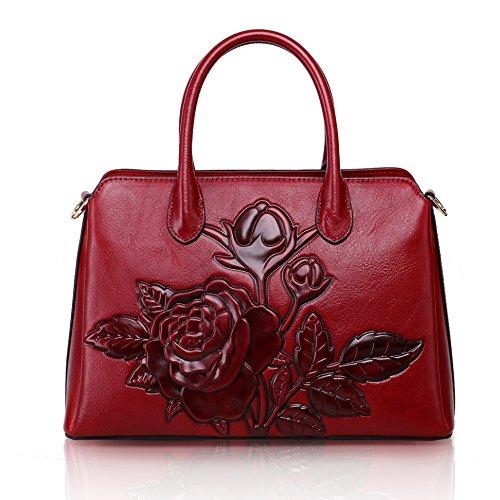 Aphison - Bolso estilo cartera de piel vacuna para mujer rojo Red