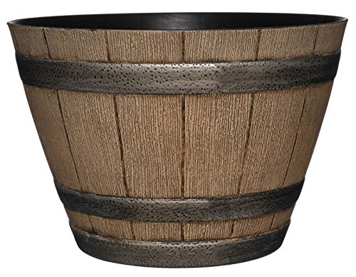 Whiskey Barrel Planter, Distressed Oak, 15""