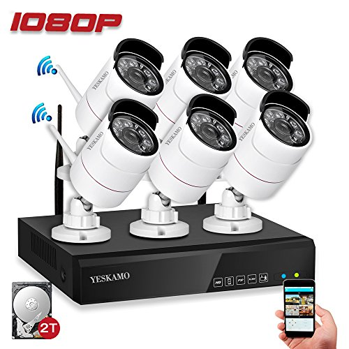 YESKAM Wireless Home Security Camera System 1080P 6pcs 2.0 Megapixel WiFi IP Cameras Auto Pair Expandable 8 Channel Network Video Recorder NVR with 2TB Surveillance Hard Drive for Outdoor Monitor by YESKAM