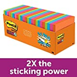 Post-it Super Sticky Notes, Bright Tropical Colors, Tray Pack, Recyclable, 3 in x 3 in