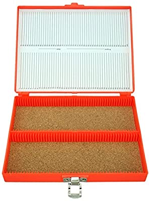 100pc Microscope Slide Storage Box, Orange
