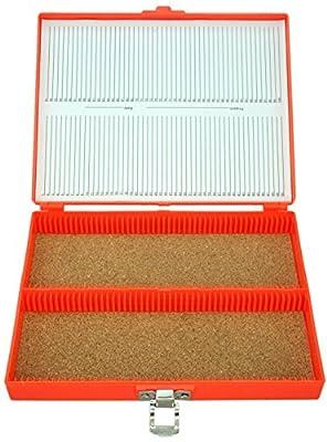 100pc Microscope Slide Storage Box, Orange