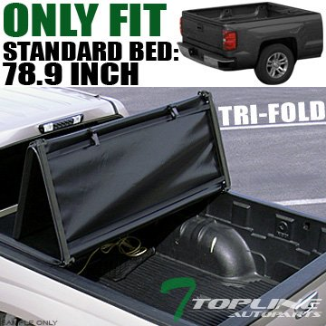 Topline Autopart Tri Fold Soft Vinyl Truck Bed Tonneau Cover For 04-14 Ford F150 ; 06-08 Lincoln Mark LT 6.5 Feet (78