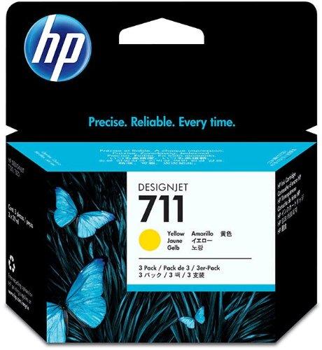 HP 711 Tri-pack Ink Cartridge - Yellow - Inkjet - 3 / Pack