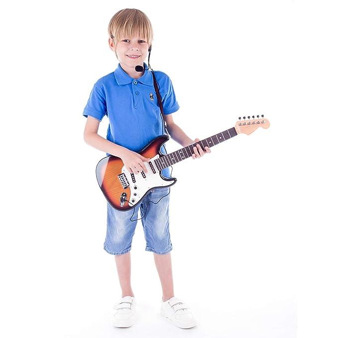 YAKOK 6 Saiten e Gitarre Kindergitarre Spielzeuggitarre mit Mikrofon Musik Spielzeug f/ür Kinder 3-12 Jahre M/ädchen und Jungen
