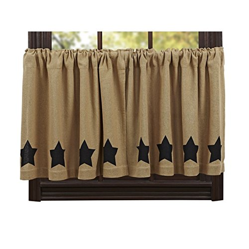 "VHC Brands Burlap Natural Black Stencil Star 24"" Tier (Set of 2)"