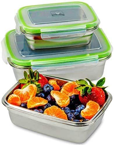JaceBox Stainless Steel Lunch Containers - Lunch Box Containers Leak Proof, Light Easy Stainless Food Containers Storage Set of 3 Stackable Sizes Bento Box Ready Eco-Friendly Keto Lifestyle! BPA FREE!