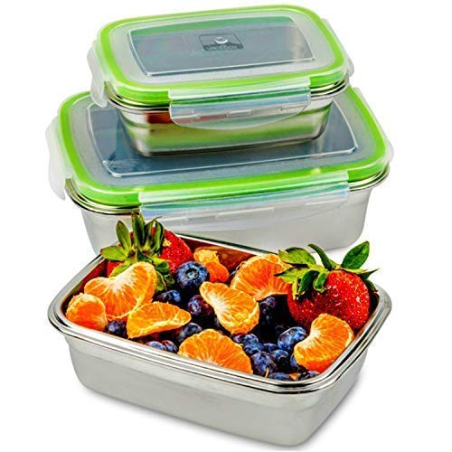 Lunch Steel Box - JaceBox Stainless Steel Lunch Containers - Lunch Box Containers Leak Proof, Light Easy Stainless Food Containers Storage Set of 3 Stackable Sizes Bento Box Ready Eco-Friendly Keto Lifestyle! BPA FREE!