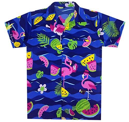 Men's Hawaiian Shirt Flamingo Holiday Party Casual Tropical Unisex Shirts ()