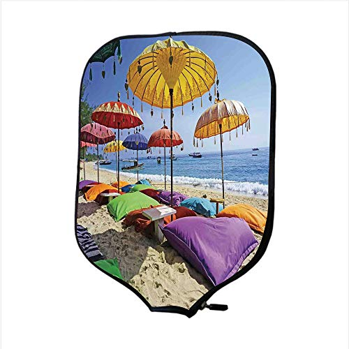 - iPrint Neoprene Pickleball Paddle Racket Cover Case,Balinese Decor,Pristine Beach Bathed by The Bali Sandy Seashore Daytime Umbrellas Pillows Leisure,Fit for Most Rackets - Protect Your Paddle