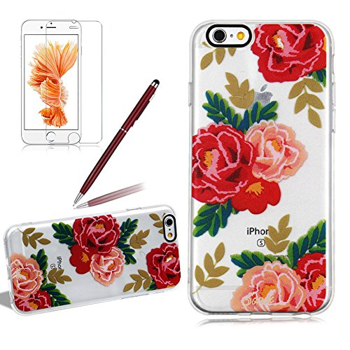 Custodia per iPhone 6/6S Silicone Morbida Transparente - Girlyard Colorata Sottile Gel TPU Antiurto Protezione Cover Case per Apple iPhone 6S/6 4.7 Telefono Caso con Pellicola Protettiva e Penna (Fio