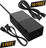 Quiet Xbox One Power Supply [Free 10ft Extension Cord] AC Adapter Cord Best for Charging - Brick Style - Great Charger Accessory Kit with Cable (Black)