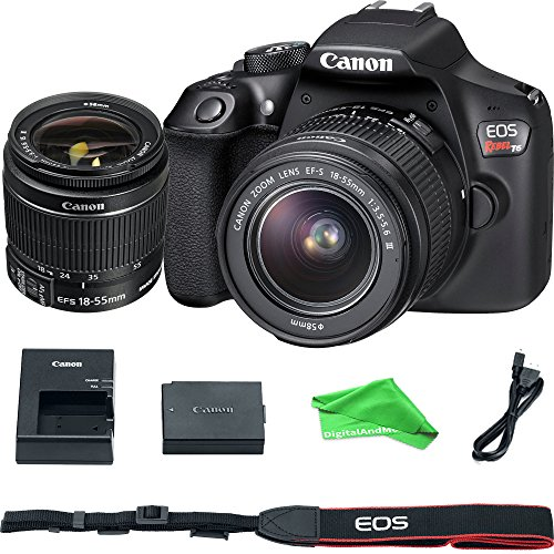 Canon EOS Rebel T6 Digital SLR Camera with 18-55mm EF-S f/3.5-5.6 IS II Lens + DigitalAndMore Microfiber Cloth