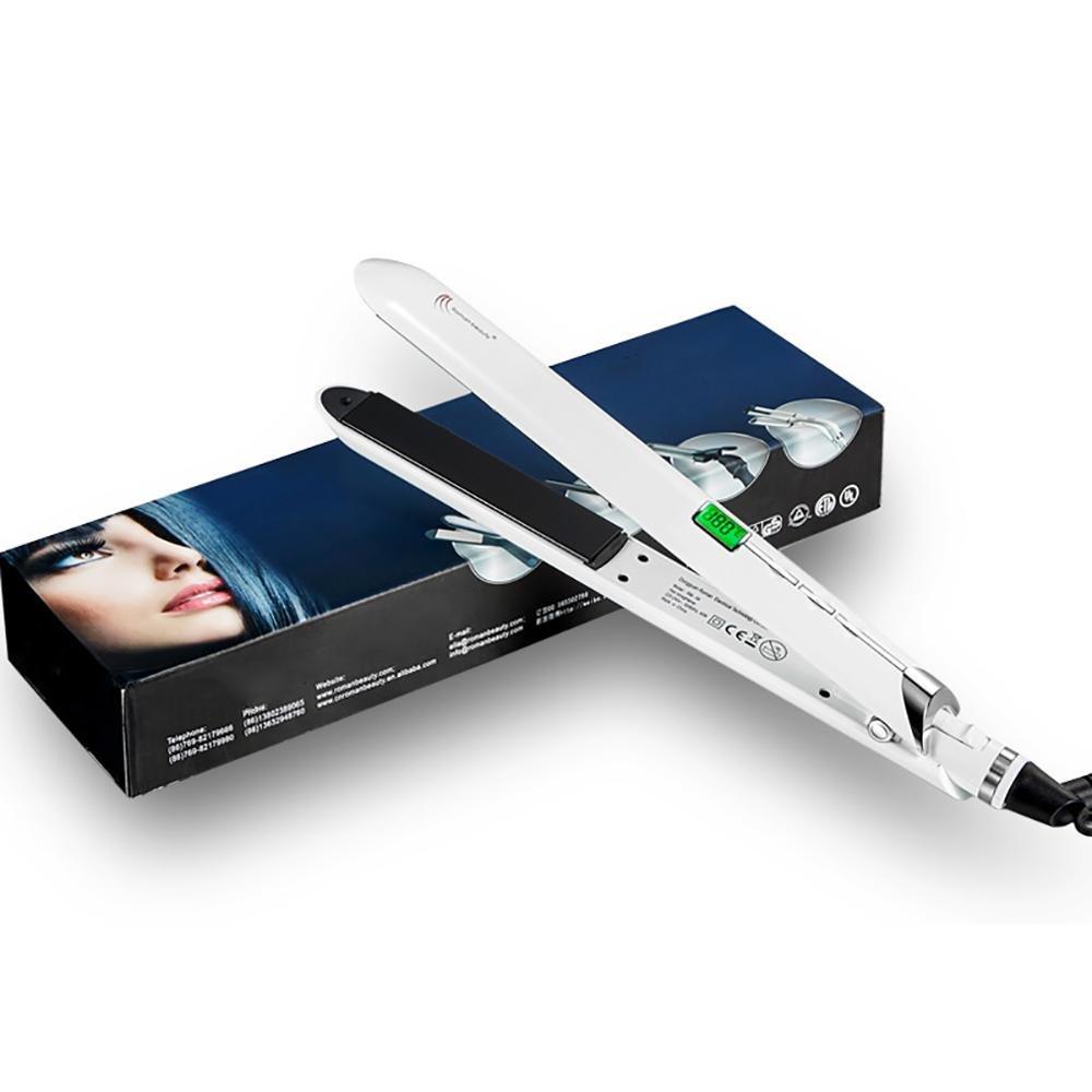Plancha para el cabello con Iones Negativos, Plancha Pro Titanium, Voltaje Universal 1 Hora de Apagado Automático, Blanco: Amazon.es: Deportes y aire libre