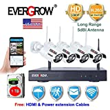 [H.265 Faster Video Transfer] Wireless Security Camera System, EVERGROW 4 Channel 1080P WiFi NVR Home Security System 4pcs Outdoor IP Security Camera, 100ft Night Vision, 1TB HD (CAM-WIFI-4CH-2MP-1)