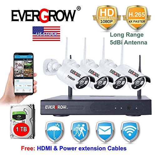 ([H.265 Faster Video Transfer] Wireless Security Camera System, EVERGROW 4 Channel 1080P WiFi NVR Home Security System 4pcs Outdoor IP Security Camera, 100ft Night Vision, 1TB HD (CAM-WIFI-4CH-2MP-1))