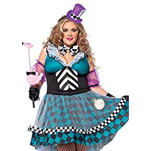 Leg Avenue Women's Plus-Size 4 Piece Manic Mad Hatter