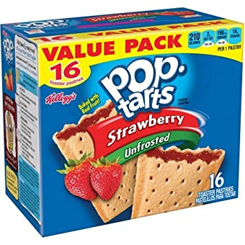 Kelloggs Strawberry Pop-Tarts Toaster Pastries, 16 ct - Pack of 4