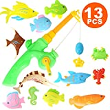 rainbow yuango 13PCS Magnet Fishing Toys Colorful Magnetic Fishing Game with Fishing Rod for Kids Toddlers Bath Time Toys