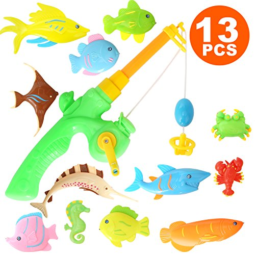 13PCS Fish Magnetic Fishing Toys Colorful Magnet Fishing Game with Fishing Rod for Kids Toddlers