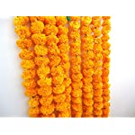 Silk Flower Arrangements Genx Artificial Marigold Flower Garland | Orange Marigold Garland | Artificial Garland | Fake Flower Garland | Artificial Marigold Strings | Indian Theme Party Decorations - 5 Strings of 5 Feet Long