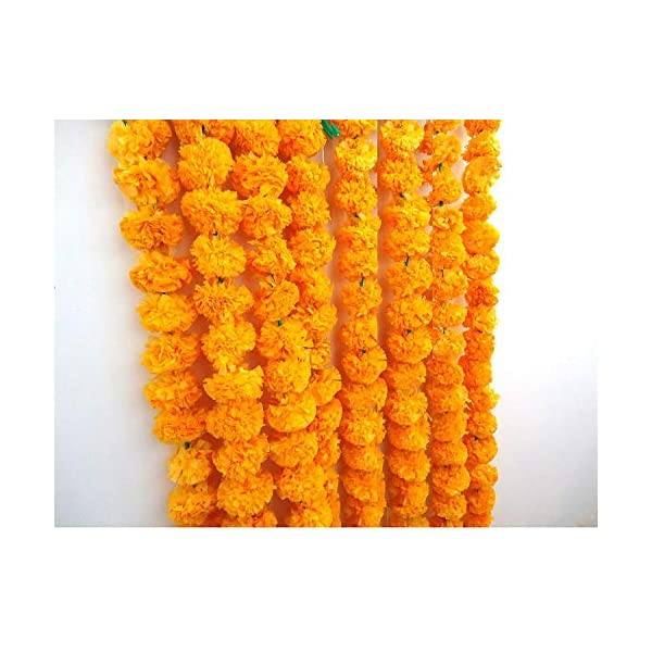 Genx Artificial Marigold Flower Strings Orange Color, Party Backdrop, Party Decoration, Indian Theme Party Decor, Photo Prop, Wedding Decorations, Housewarming Decoration, 5 Strings of 5 feet Long