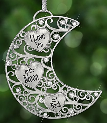 Silver Moon with Engraved Hearts & Crystal