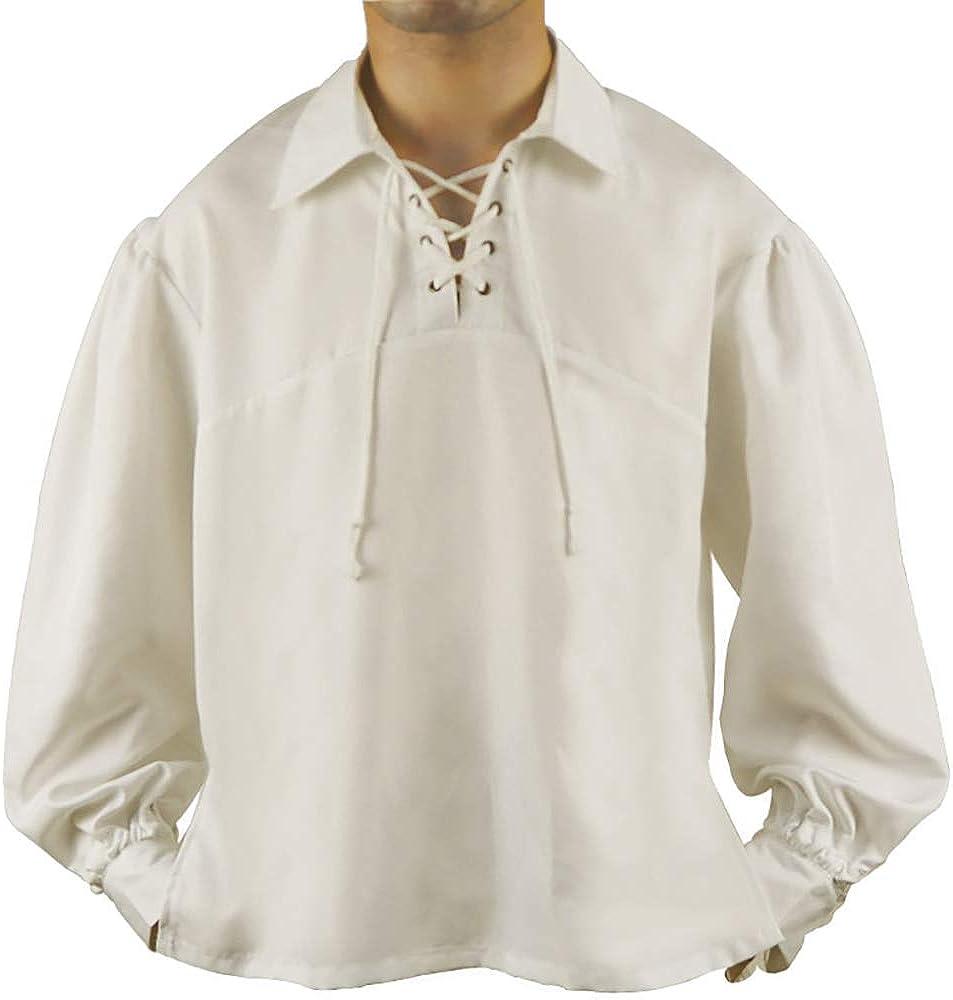 Qingge Camisa Pirata Medieval para Hombre Camisa ...