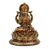 "Lakshmi On Lotus -6.3""Height Resin Laxmi Statue Display Wedding Gifts"
