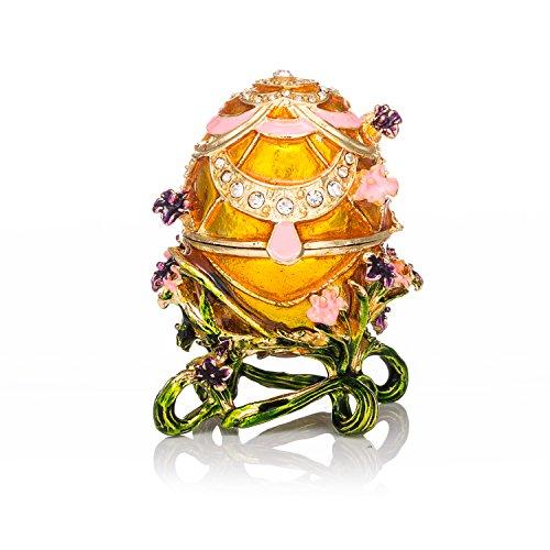 Box Egg Enamel - QIFU-Hand Painted Enameled Faberge Egg Style Decorative Hinged Jewelry Trinket Box Unique Gift for Home Decor