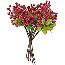 Toifucos 10pcs Rustic Artificial Blueberry Fruit Artificial Flowers for Wedding Office Living Room Decorations, Red