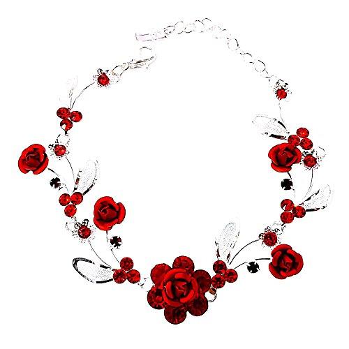 - Faceted Metal Rose & Crystal Rhinestone Mesh Leaf Bracelet Bridal Prom (Red)
