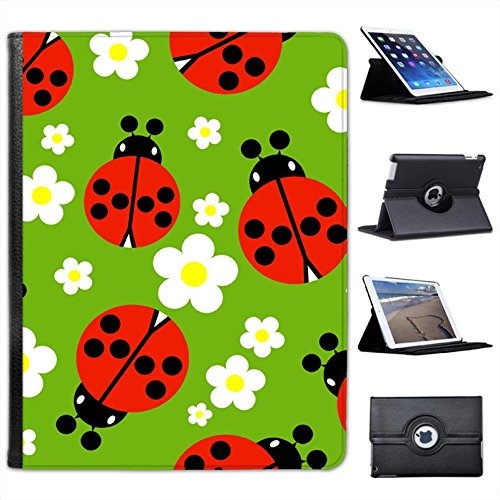 (Tiny Red Spotted Ladybugs White Daisy for Apple iPad 2, 3 & 4 Faux Leather Folio Presenter Case Cover Bag with Stand Capability)