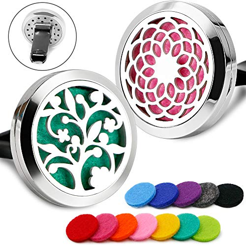 2PCS RoyAroma 30mm Car Aromatherapy Essential Oil Diffuser Stainless Steel Locket Air Freshener with Vent Clip 12 Felt ()