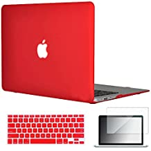 "Easygoby 3in1 Matte Frosted Silky-Smooth Soft-Touch Hard Shell Case Cover for 13-inch MacBook Air 13.3"" (Model:A1369 / A1466) + Keyboard Cover + Screen Protector - Red"